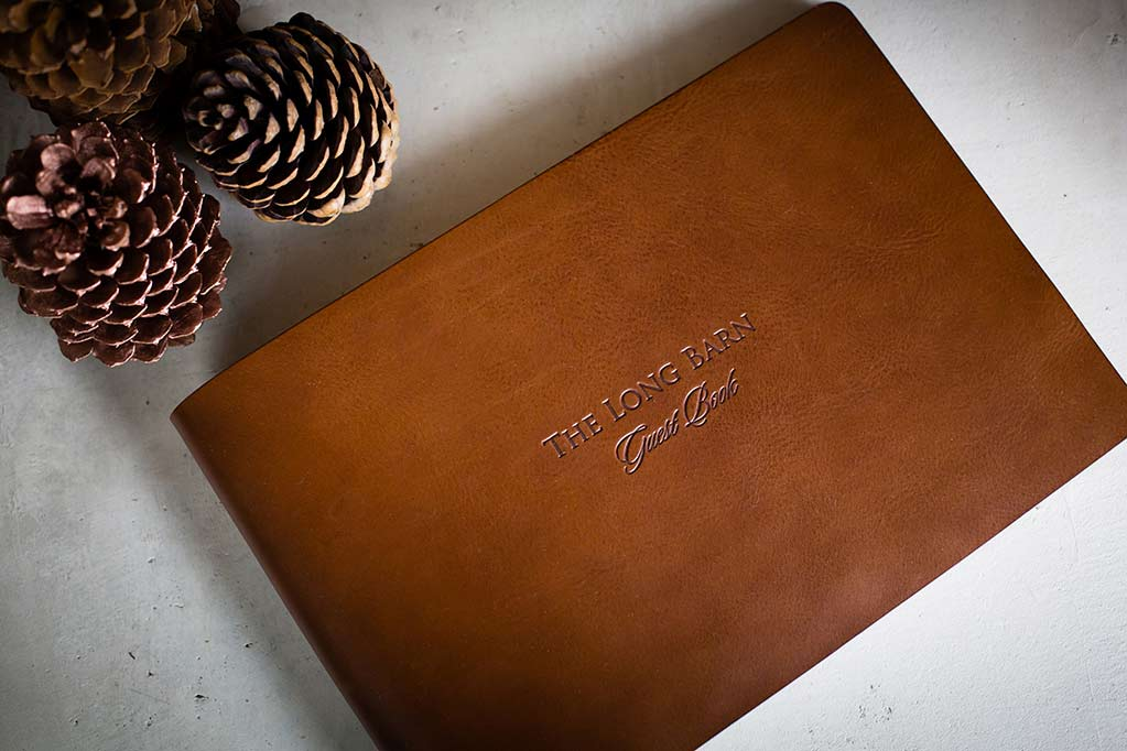 leather guest book with personalised cover
