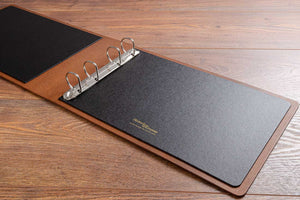 A4 leather ring binder with 4 ring binder mechanism