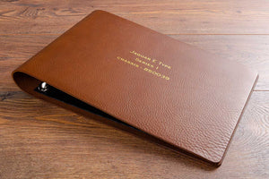 A4 landscape leather ring binder for classic car restoration and documents