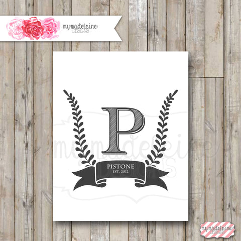 Family Name Wall Art family name, wall art - last name initial, date established