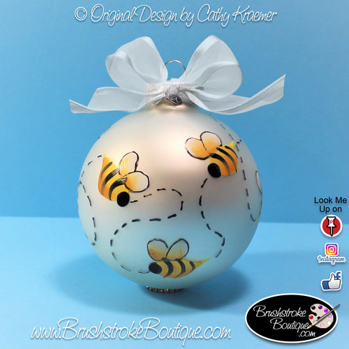 Bumble Bees Ornament - Hand Painted Glass Ball Ornament - Original Designs by Cathy Kraemer