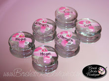 Hand Painted Glass Gems - Breast Cancer Ribbon - Original Designs by Cathy Kraemer