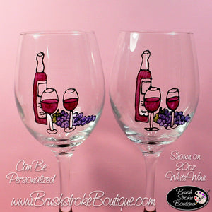 Hand Painted Wine Glass - Art Deco Wine - Original Designs by Cathy Kraemer