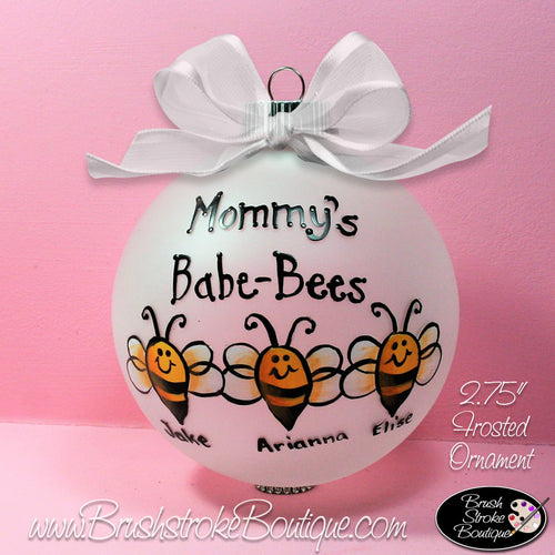 Baby Bees Ornament - Hand Painted Glass Ball Ornament - Original Designs by Cathy Kraemer