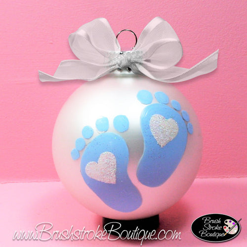 Baby Boy Footprints Ornament - Hand Painted Glass Ball Ornament - Original Designs by Cathy Kraemer
