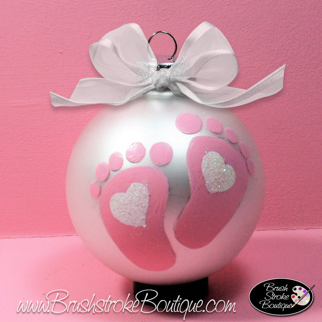 baby girl footprints ornament hand painted glass ball ornament ori