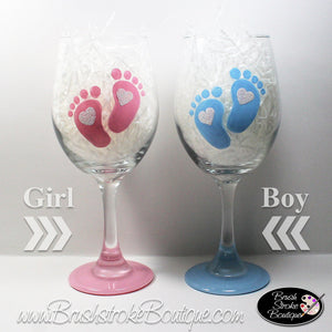 Hand Painted Wine Glass - Baby Footprints - Original Designs by Cathy Kraemer