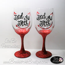 Hand Painted Wine Glass - Bad Ass Bitch - Original Designs by Cathy Kraemer