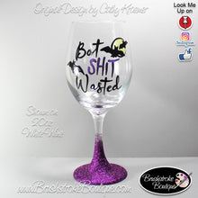 Hand Painted Wine Glass - Bat Wasted - Original Designs by Cathy Kraemer