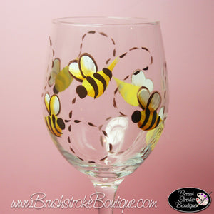 Hand Painted Wine Glass - Bumble Bee - Original Designs by Cathy Kraemer