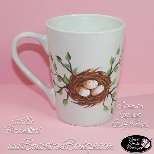 Hand Painted Coffee Mug - Birdnest - Original Designs by Cathy Kraemer