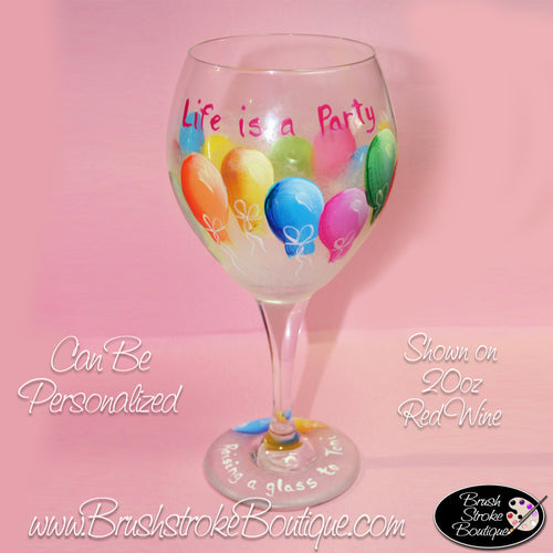 Hand Painted Wine Glass - Balloons - Original Designs by Cathy Kraemer