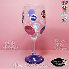 Hand Painted Wine Glass - Birthday Bubbles - Original Designs by Cathy Kraemer