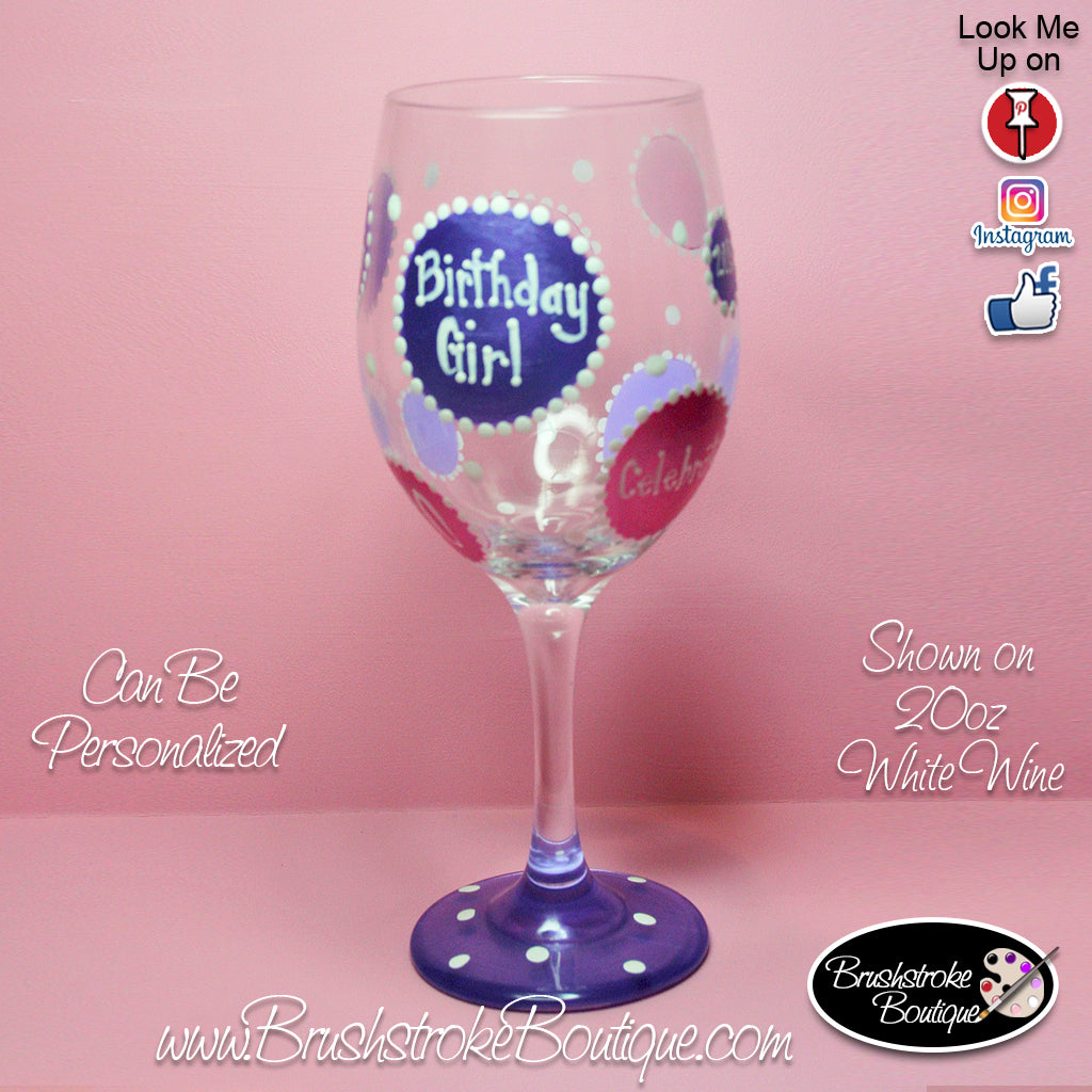 Hand Painted Wine Glass - Birthday Bubbles - Original Designs by Cathy