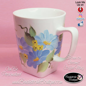 Hand Painted Coffee Mug - Pink Daisies - Original Designs by Cathy Kraemer