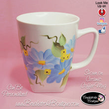 Hand Painted Coffee Mug - Blue Daisies - Original Designs by Cathy Kraemer