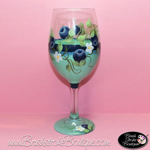 Hand Painted Wine Glass - Blueberries - Original Designs by Cathy Kraemer