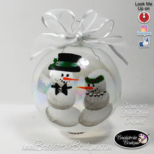 Hand Painted Ornament - Glass Ball Ornament - Bride & Groom Snowmen - Original Designs by Cathy Kraemer