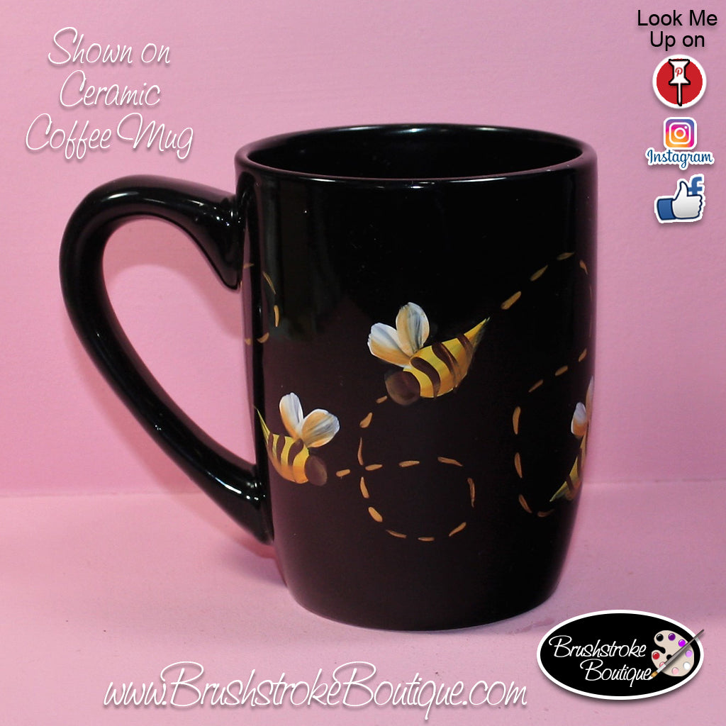 Hand Painted Coffee Mug - Bumble Bees - Original Designs by Cathy Krae
