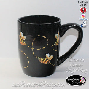 Hand Painted Coffee Mug - Bumble Bees - Original Designs by Cathy Kraemer