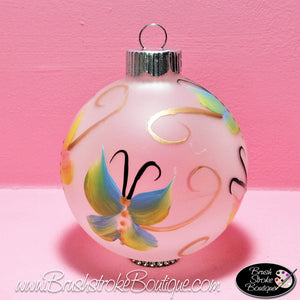 Butterflies Are Free Ornament - Hand Painted Glass Ball Ornament - Original Designs by Cathy Kraemer
