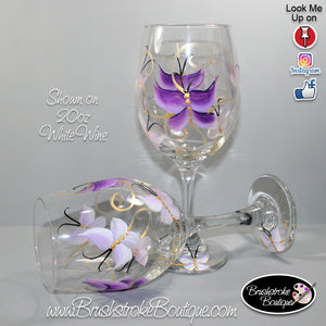 Hand Painted Wine Glass - Butterflies Are Free Purple - Original Designs by Cathy Kraemer