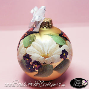 Butterfly Garden Ornament - Hand Painted Glass Ball Ornament - Original Designs by Cathy Kraemer