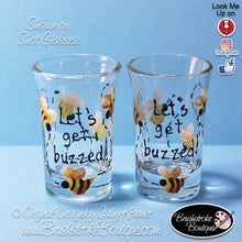 Hand Painted Shot Glass - Buzzed - Original Designs by Cathy Kraemer