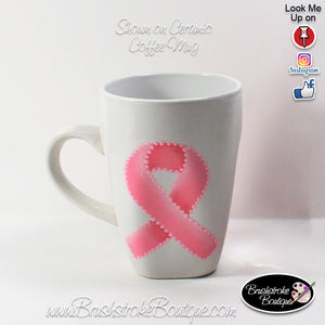 Hand Painted Wine Glass - Cancer Awareness Ribbon - Original Designs by Cathy Kraemer