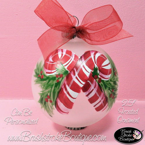 Candy Canes Ornament - Hand Painted Glass Ball Ornament - Original Designs by Cathy Kraemer