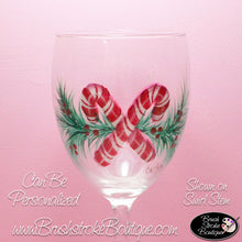 Hand Painted Wine Glass - Candy Canes Pine Bough - Original Designs by Cathy Kraemer
