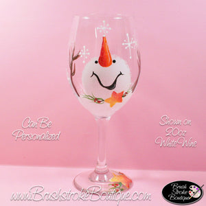 Hand Painted Wine Glass - Catching Snowflakes - Original Designs by Cathy Kraemer