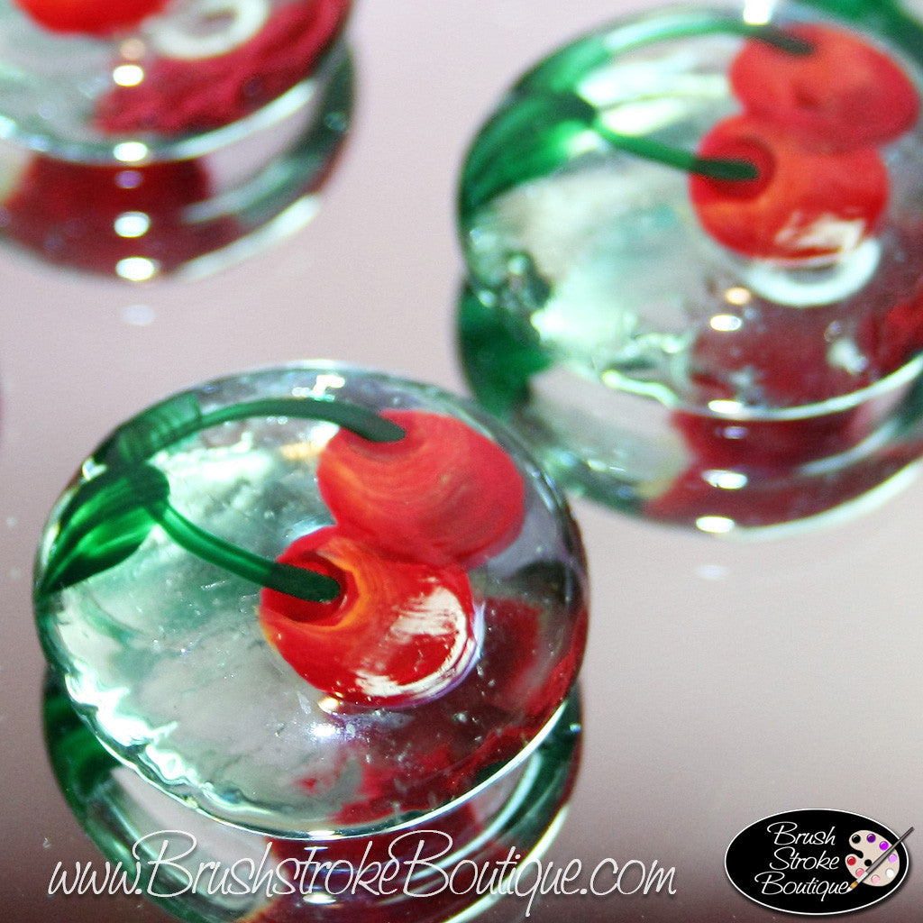 Hand Painted Glass Gems - Cherries Jubilee - Original Designs by Cathy Kraemer