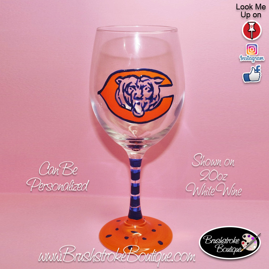 Hand Painted Wine Glass - Chicago Bears Sports Team - Original Designs by Cathy Kraemer