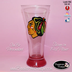 Hand Painted Pilsner Beer Glass - Chicago Blackhawks Sports Team - Original Designs by Cathy Kraemer
