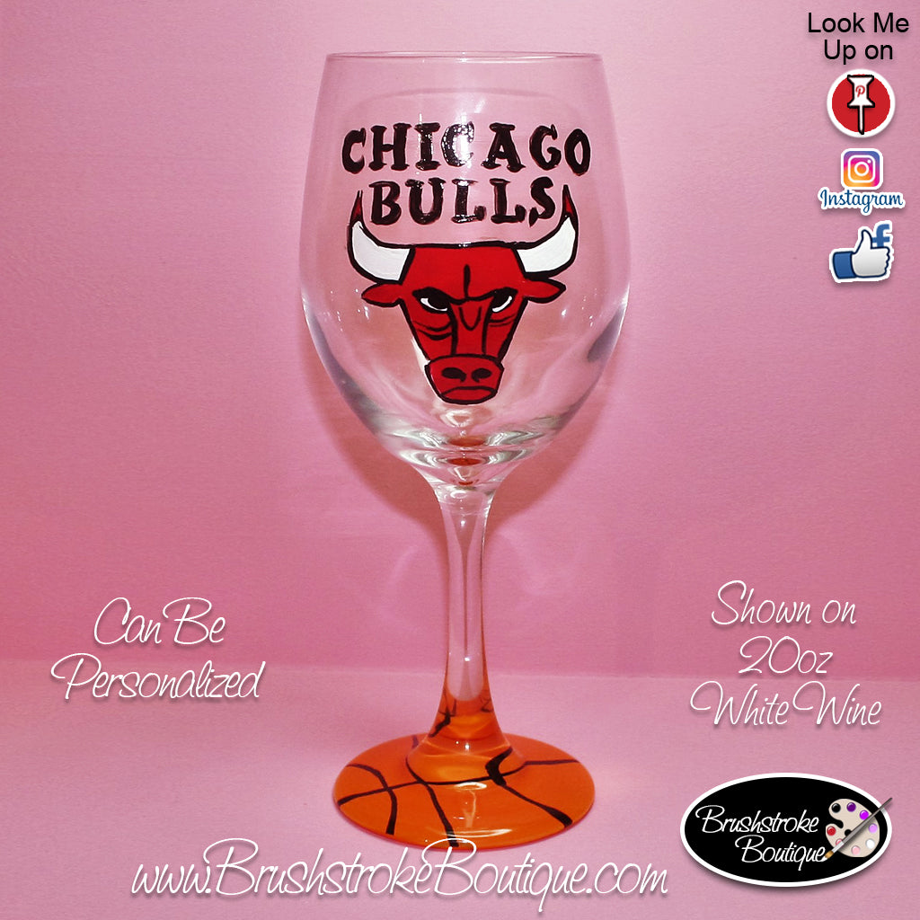 Hand Painted Wine Glass - Chicago Bulls Sports Team - Original Designs by Cathy Kraemer
