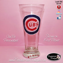 Hand Painted Pilsner Beer Glass - Chicago Cubs Sports Team - Original Designs by Cathy Kraemer