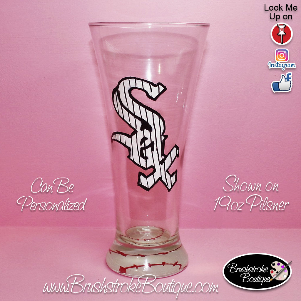 Hand Painted Pilsner Beer Glass - Chicago Sports Team - Original Designs by Cathy Kraemer
