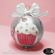 Blinged Out Cupcake Ornament - Hand Painted Glass Ball Ornament - Original Designs by Cathy Kraemer