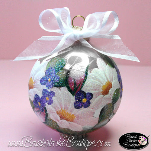 Daisy Garden Ornament - Hand Painted Glass Ball Ornament - Original Designs by Cathy Kraemer