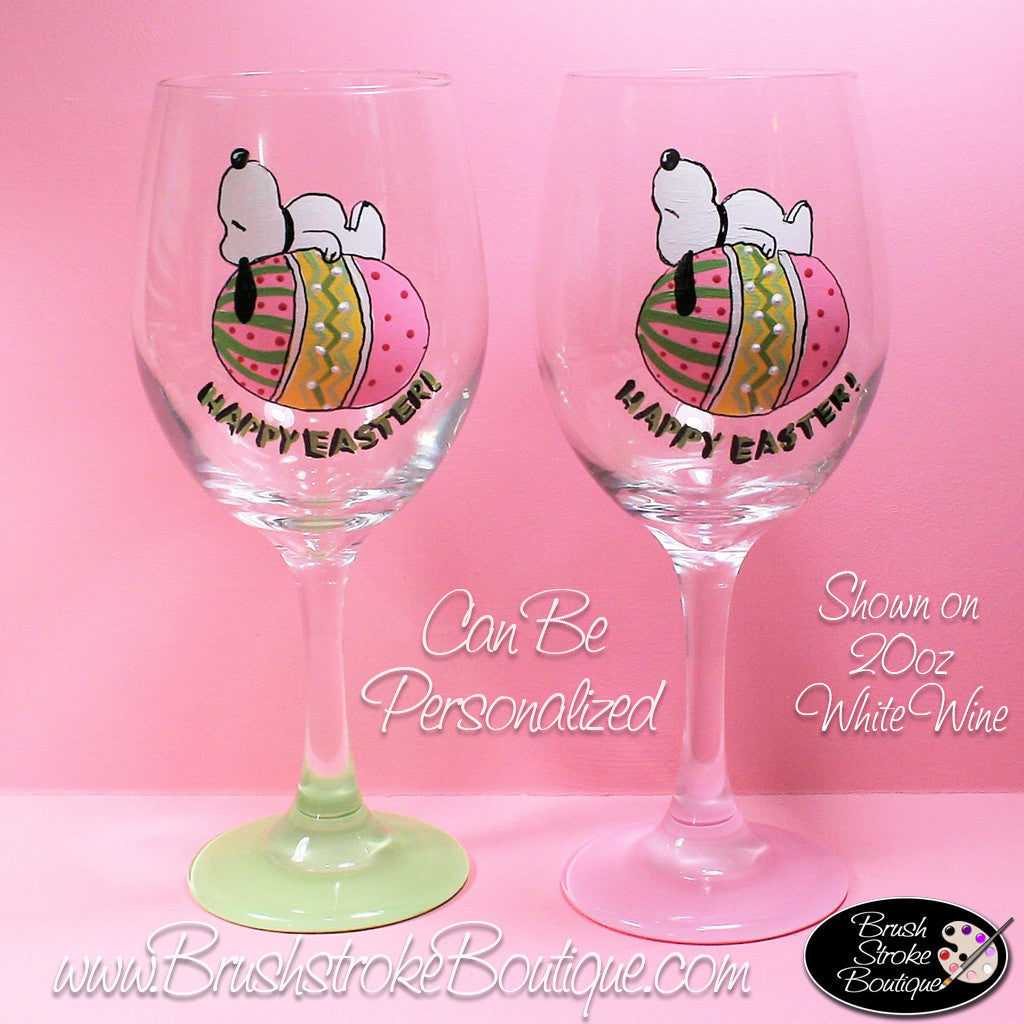 Hand Painted Wine Glass - Peanuts Easter Dog - Original Designs by Cat