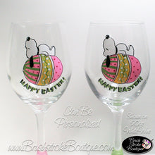 Hand Painted Wine Glass - Peanuts Easter Dog - Original Designs by Cathy Kraemer