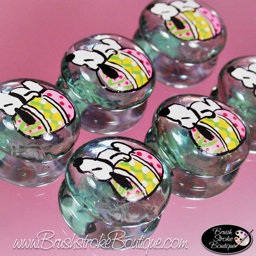 Hand Painted Glass Gems - Easter Dog - Original Designs by Cathy Kraemer