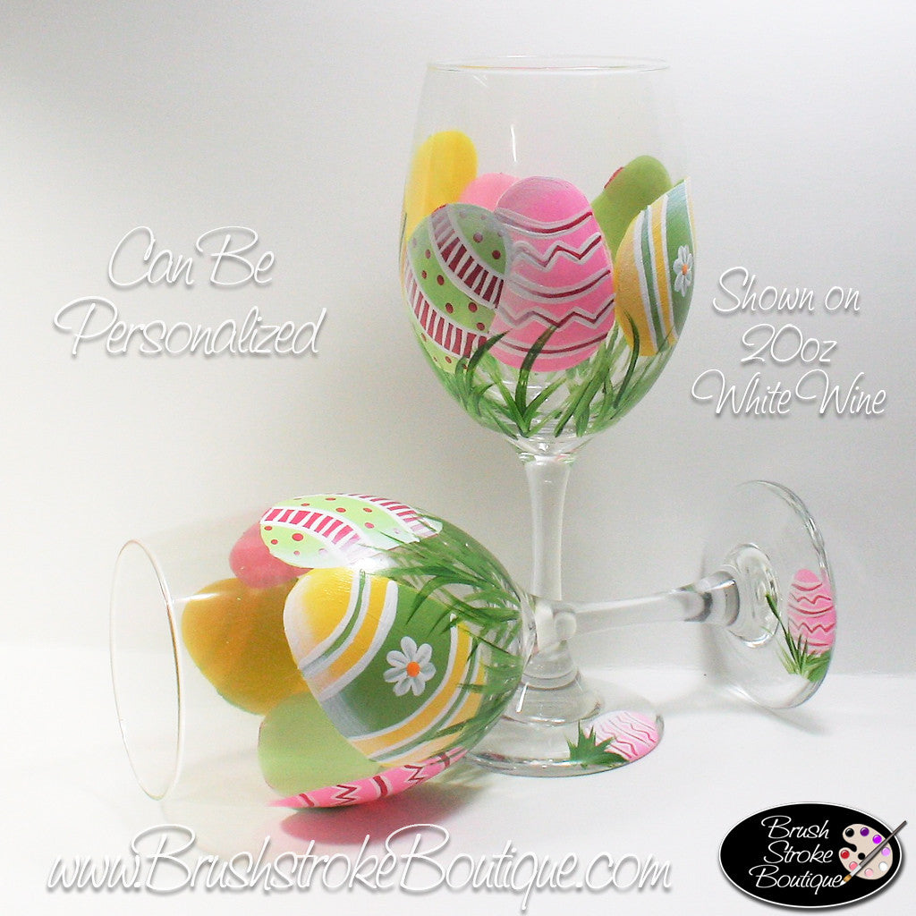 Hand Painted Wine Glass - Easter Eggs - Original Designs by Cathy Kraemer