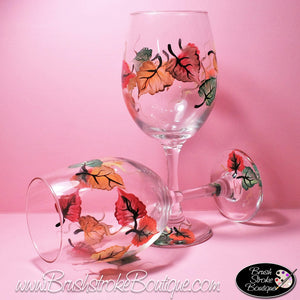 Hand Painted Wine Glass - Fall Leaves - Original Designs by Cathy Kraemer