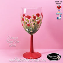 Hand Painted Wine Glass - Field of Hearts - Original Designs by Cathy Kraemer