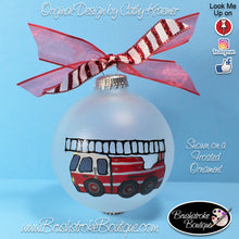 Hand Painted Ornament - Glass Ball Ornament - Firetruck - Original Designs by Cathy Kraemer