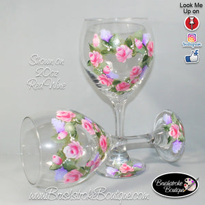 Hand Painted Wine Glass - Floral Rose Wreath - Original Designs by Cathy Kraemer