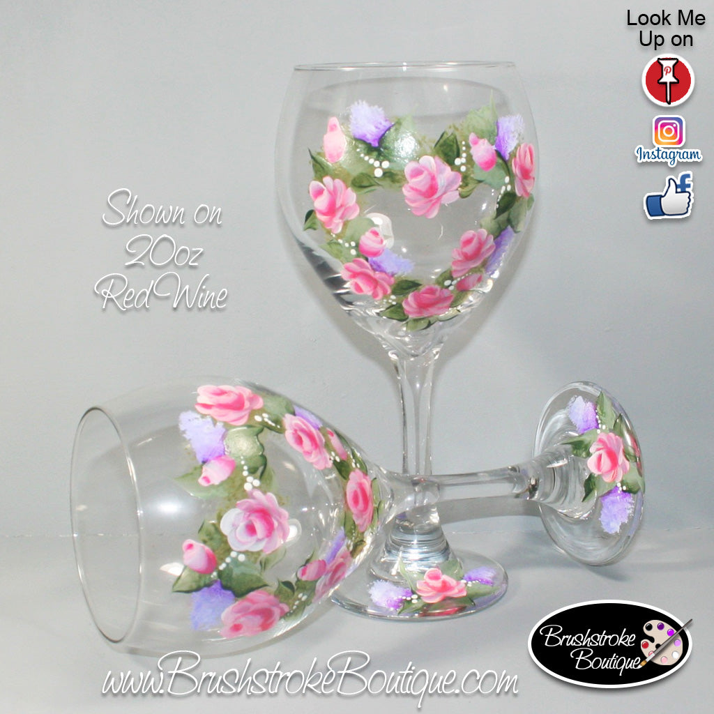 Hand Painted Wine Glass Floral Rose Wreath Original Designs By Cat