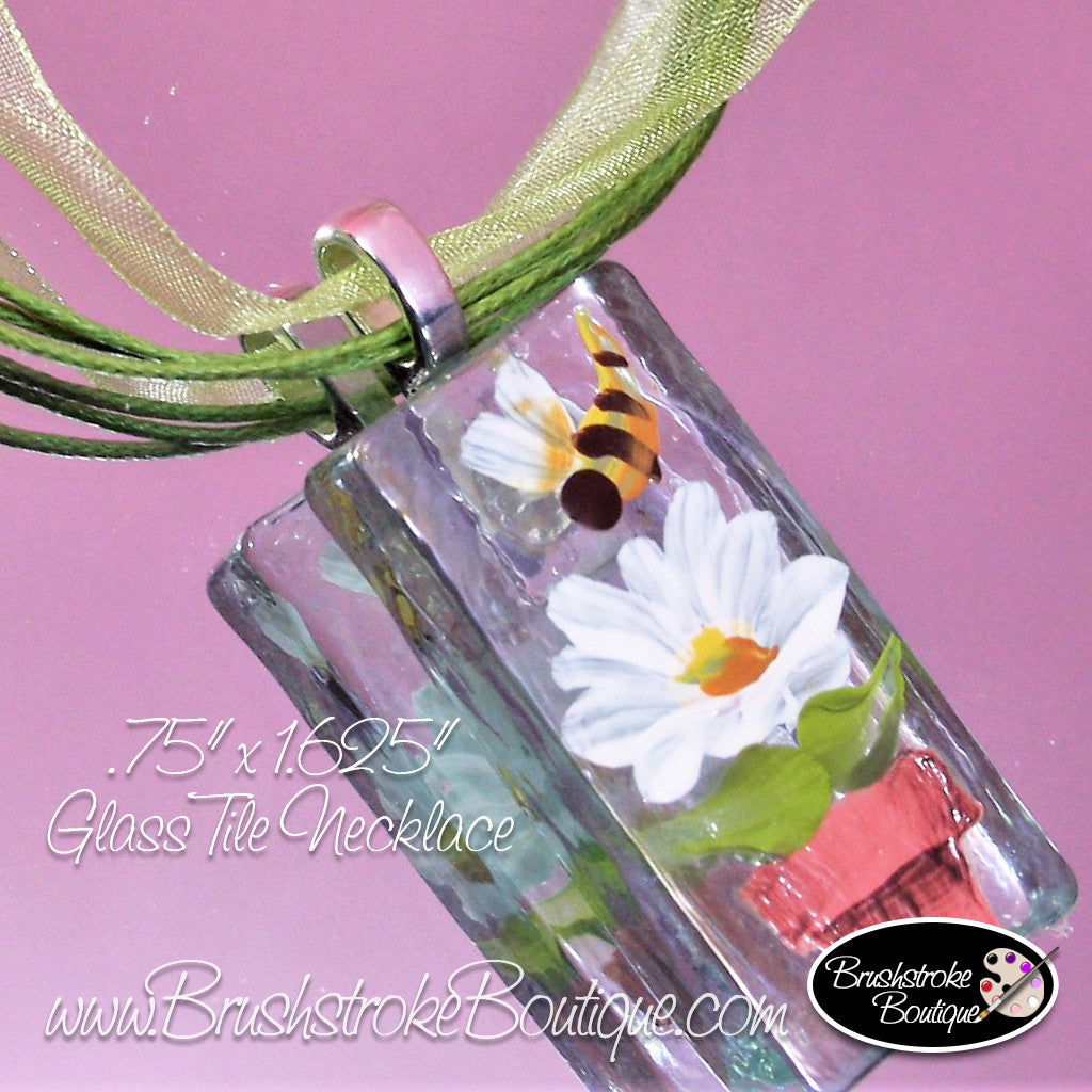 Hand Painted Jewelry - Flowerpot Daisy - Original Designs by Cathy Kraemer